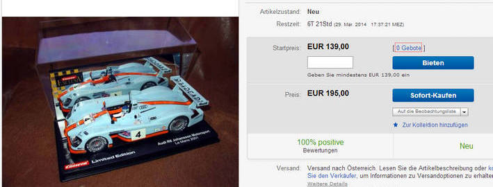 Carrera Exclusiv Audi R8 Gulf limited