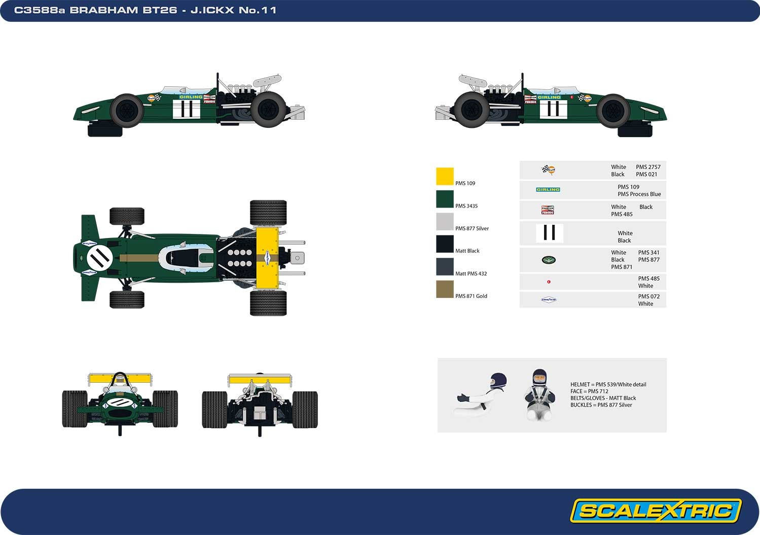 Scalextric - Legends Brabham BT26A-3 (C3588A) Zeichnung